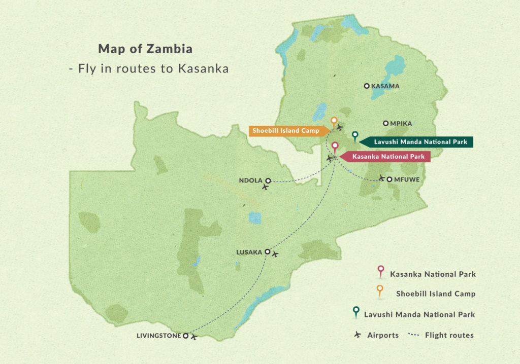 Flight routes to Kasanka
